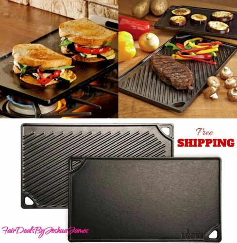 Lodge Logic Double Play Cast Iron Pre-Seasoned Reversible Griddle Grill New