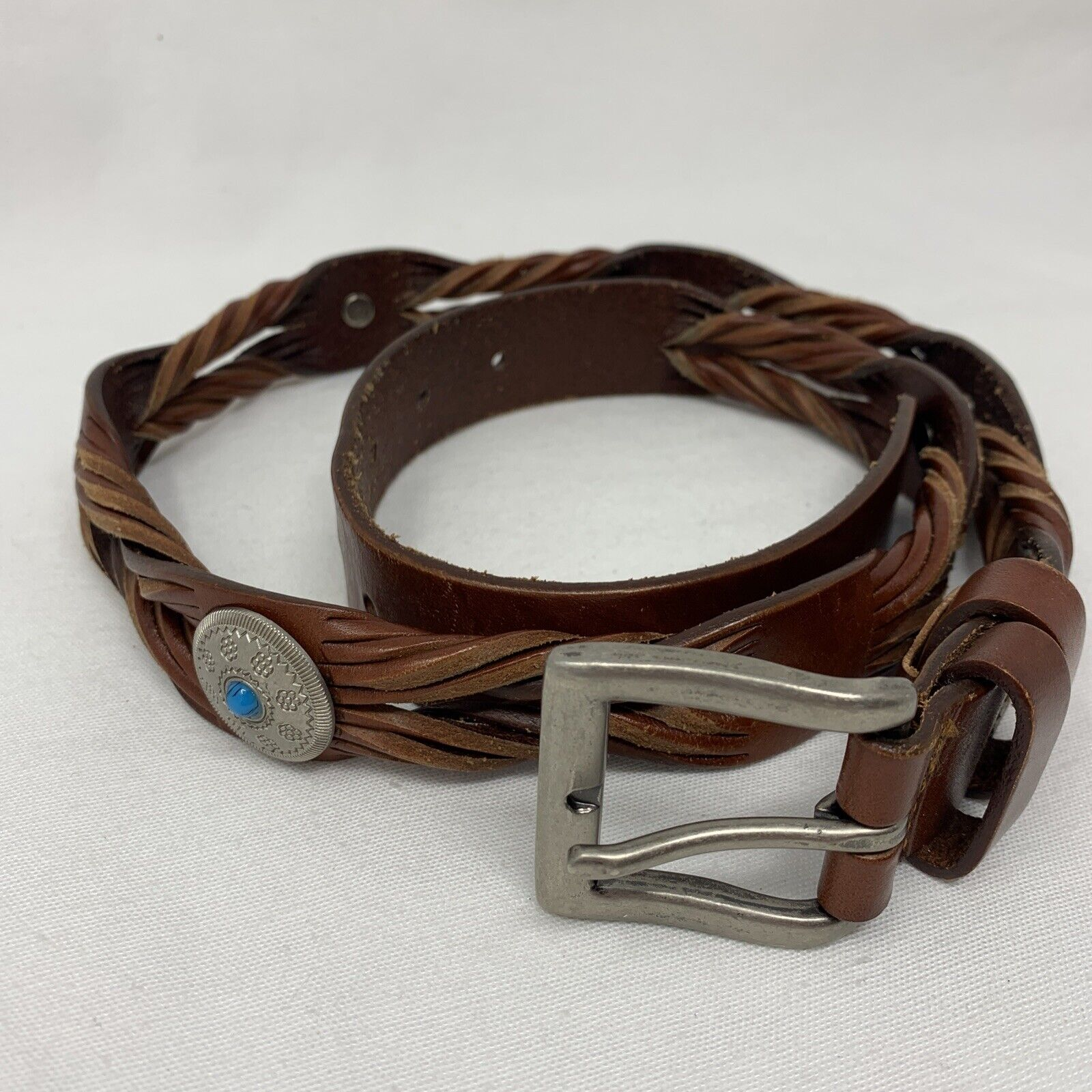 Decorative Woven Brown Faux Leather & Silver Concho Embellished Belt (40