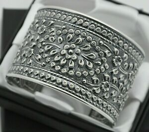 Wide-amp-Heavy-Vintage-Floral-Design-Cuff-Bracelet-in-Solid-925-Sterling-Silver