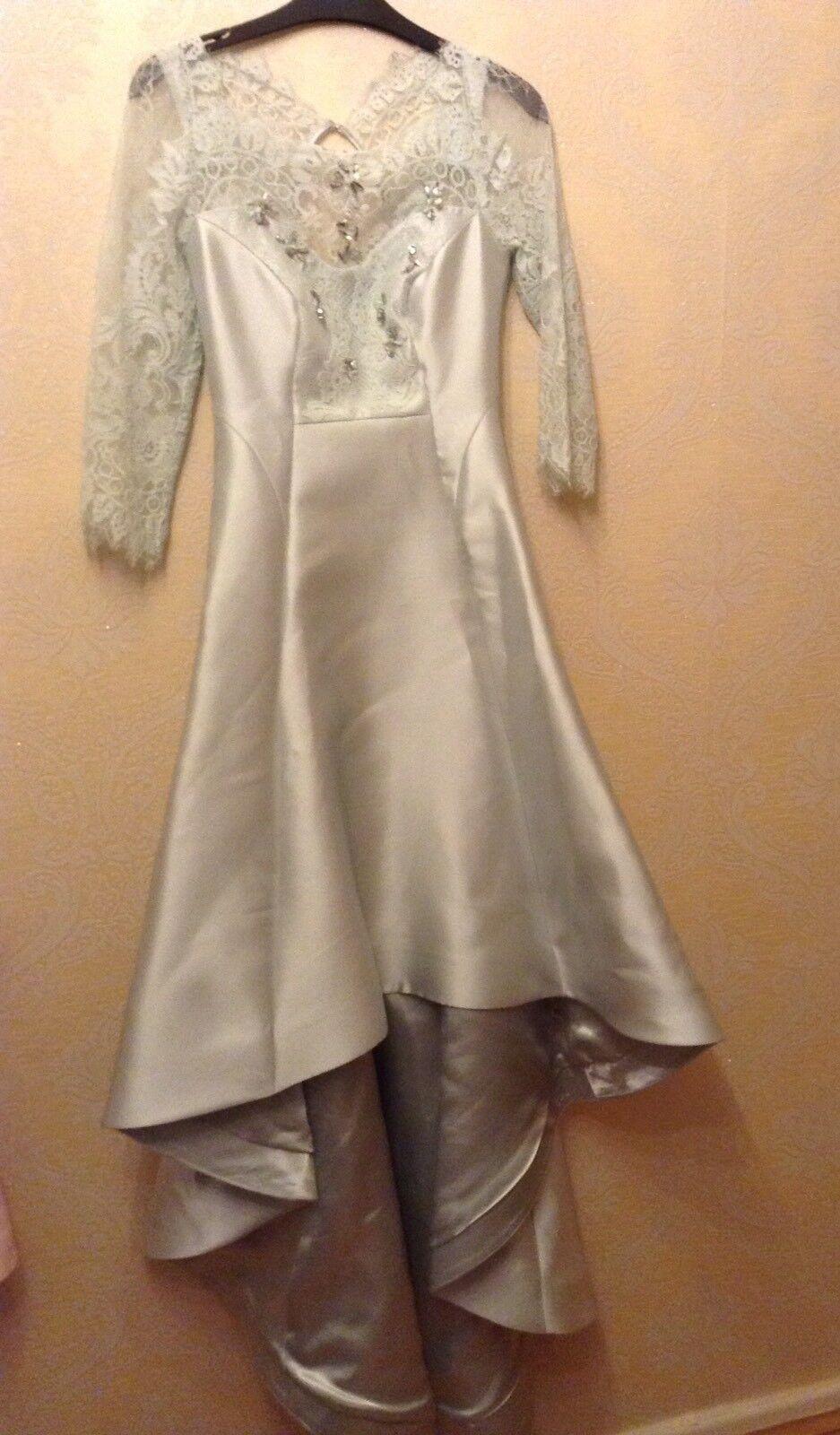 BNWT❤️Coast❤️Größe 8 Ramora Mint High Low Dress Me Prom Gown Lace Sleeves