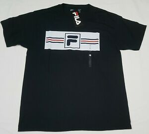 FILA-Men-039-s-T-shirt-Logo-Active-Sports-Apparel-Training-Black-classic-Logo