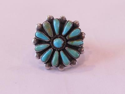 Navajo Turquoise Needlepoint Sterling Silver Ring Size 8 Violet Begay