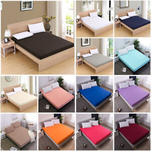 Soft-Fitted-Bed-Sheet-Bedding-Cover-Deep-Pocket-Full-King-Queen-Size-Solid-Color
