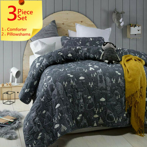 Racoon In The Woods Kids Comforter Coverlet Set by Jiggle+GiggleAnimal Bears
