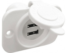 Lighter Socket Double USB Socket 12/24V. Waterproof. Marine White