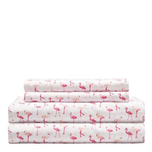 Whimsical Pink Flamingo Summer Sheet Set Queen Size