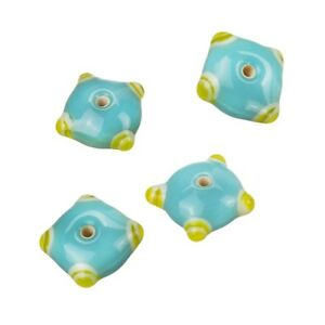 Sputnik-Lampwork-Turquoise-Yellow-Disc-Glass-Beads-21mm-Pack-of-4-B15-13