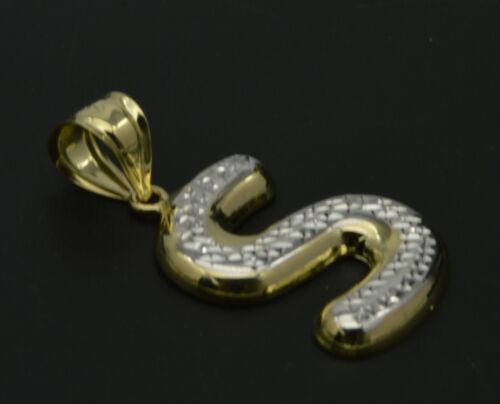 Real 10k Yellow Gold Bubble Letter Charm INITIAL LETTER PENDANT available A-Z