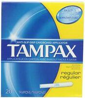 4 Pack Tampax Regular Anti-slip Grip Cardboard Applicator 20 Tampons Each on sale