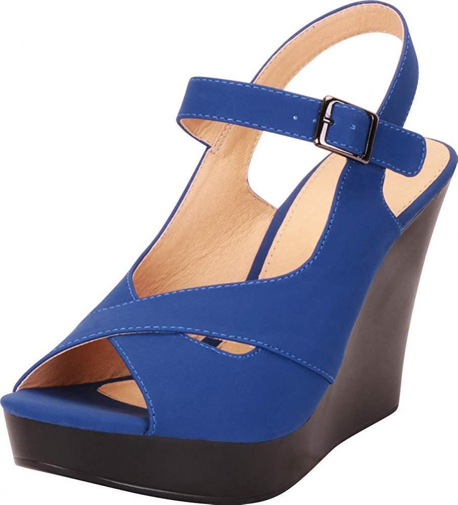Women's Peep Toe Crisscross Strappy Chunky Platform Wedge Ankle Strap Sandals