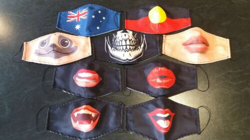 FUNNY FACE COVER *Aboriginal Flag* Double layer Cotton Mix-Sydney Melbourne-FAST