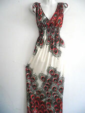 Women Summer Long Maxi BOHO Evening Party Dress Beach Dresses Sundress M/L RED