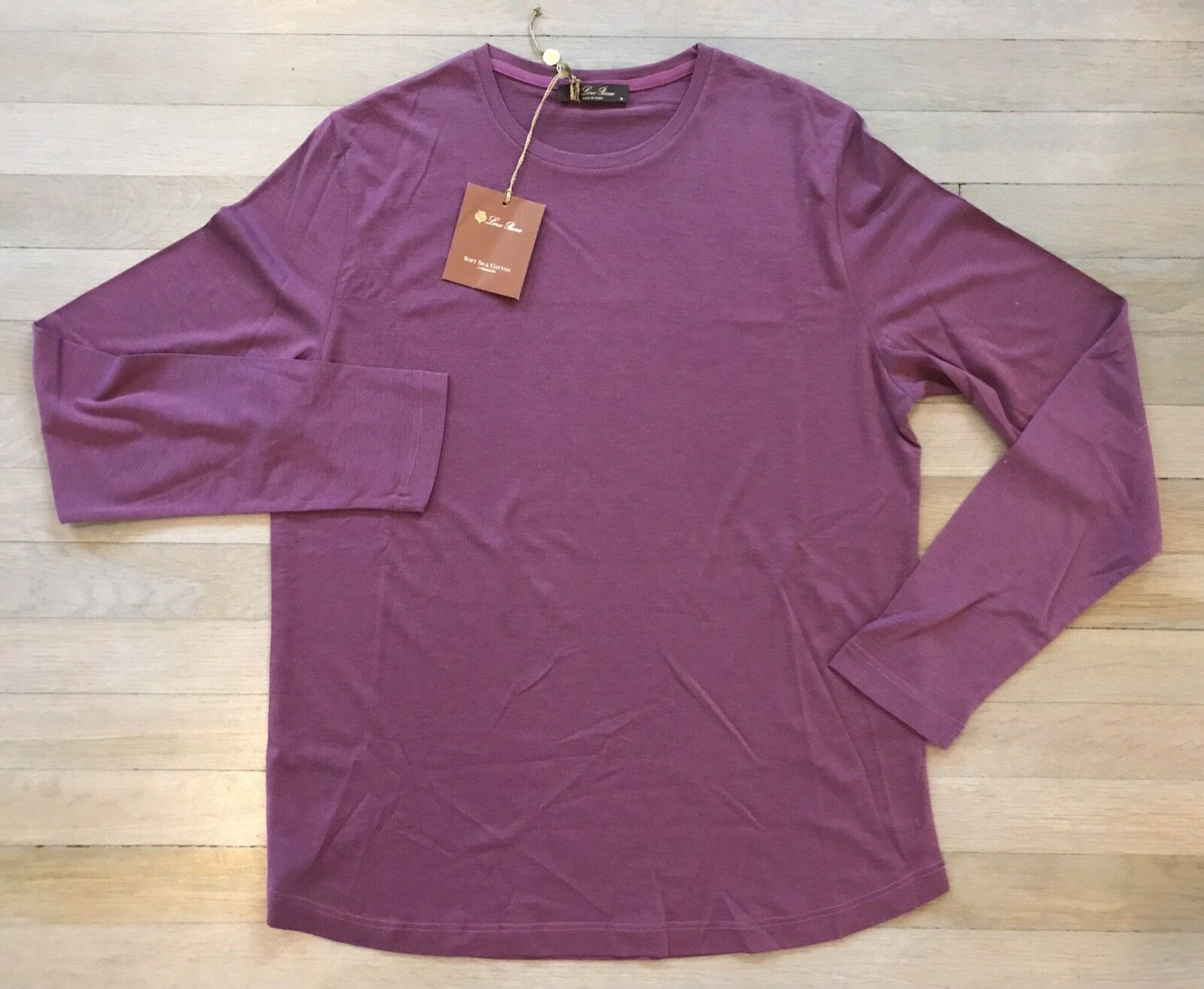 600 Loro Piana Wine Long Sleeve Silk and Cotton Shirt Größe XXXL Made in