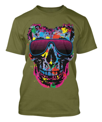 Cool Summer Men/'s T-shirt Skull With Neon Shades