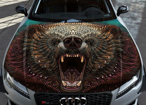 Grizzly Car Hood Wrap Full Color Vinyl Sticker Decal Fit Any Car