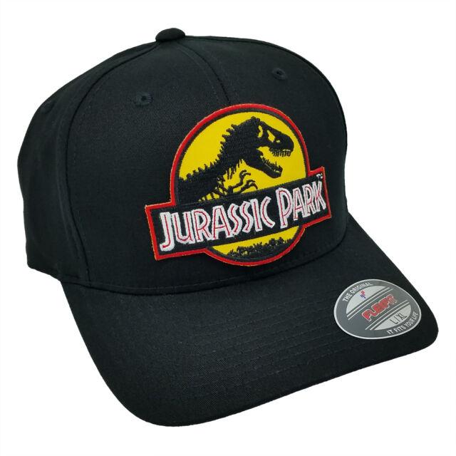 7bf194071 Jurassic Park Movie Logo Yellow Sci fi Patch Flexfit Black L-XL Size Cap Hat