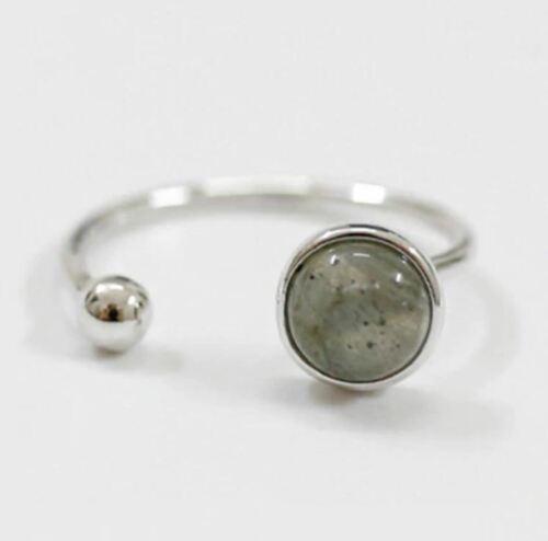 Sterling 925 Silver Black Onyx Moonstone Geometric Rings