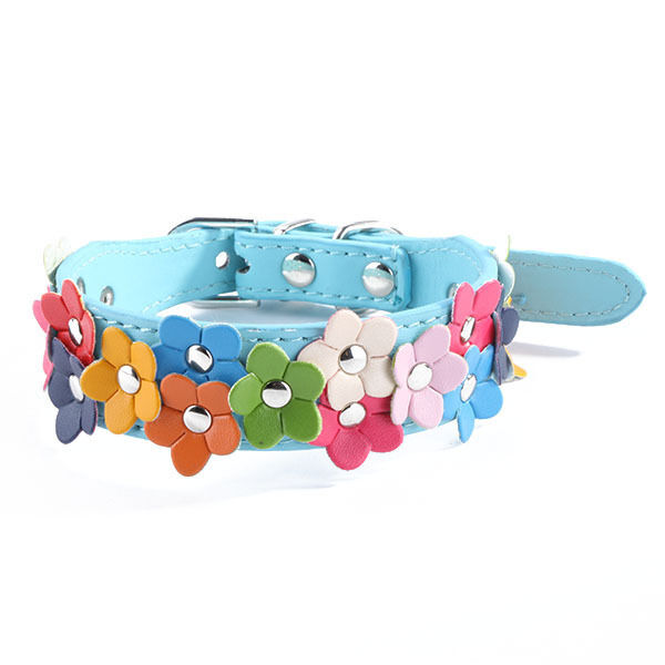 Lovely Flower Designer Leather Dog Pet Puppy Collar For Xmas Red,Black,Blue,Pink