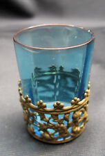 Antique Reverse Panel Blue Glass in Brass Basket Toothpick Holder, Cordial