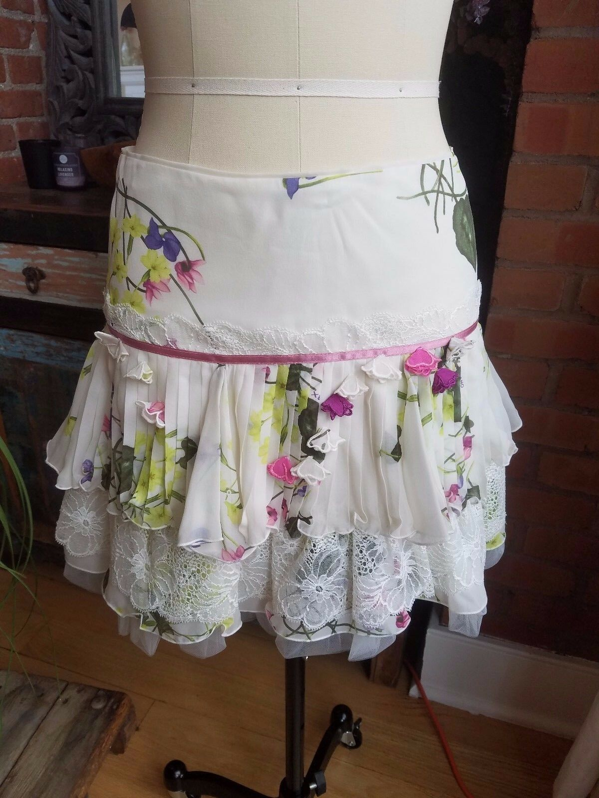 X's Couture Milano Floral Printed Silk Tiered White Skirt Sz 42 6 NWT New