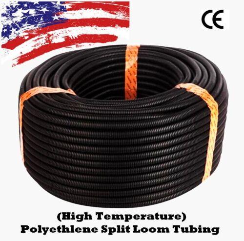 """5//8/"""" Pouces Split Wire Loom conduit ondulé en plastique Tube Manche Tube US environ 15.24 m 50 Ft"""