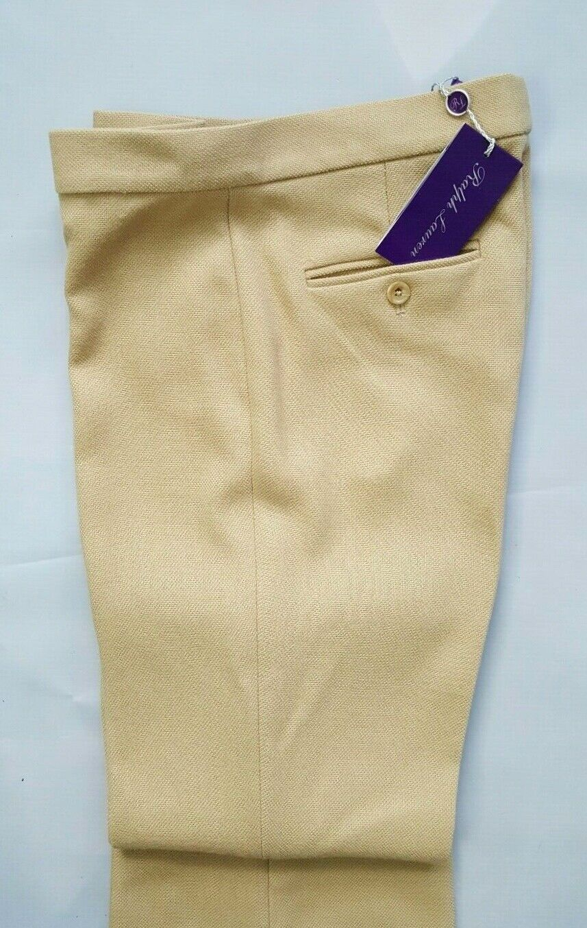 ,090 RALPH LAUREN PURPLE LABEL COLLECTION WIDE LEG WOMENS BEIGE WOOL PANT Sz 6