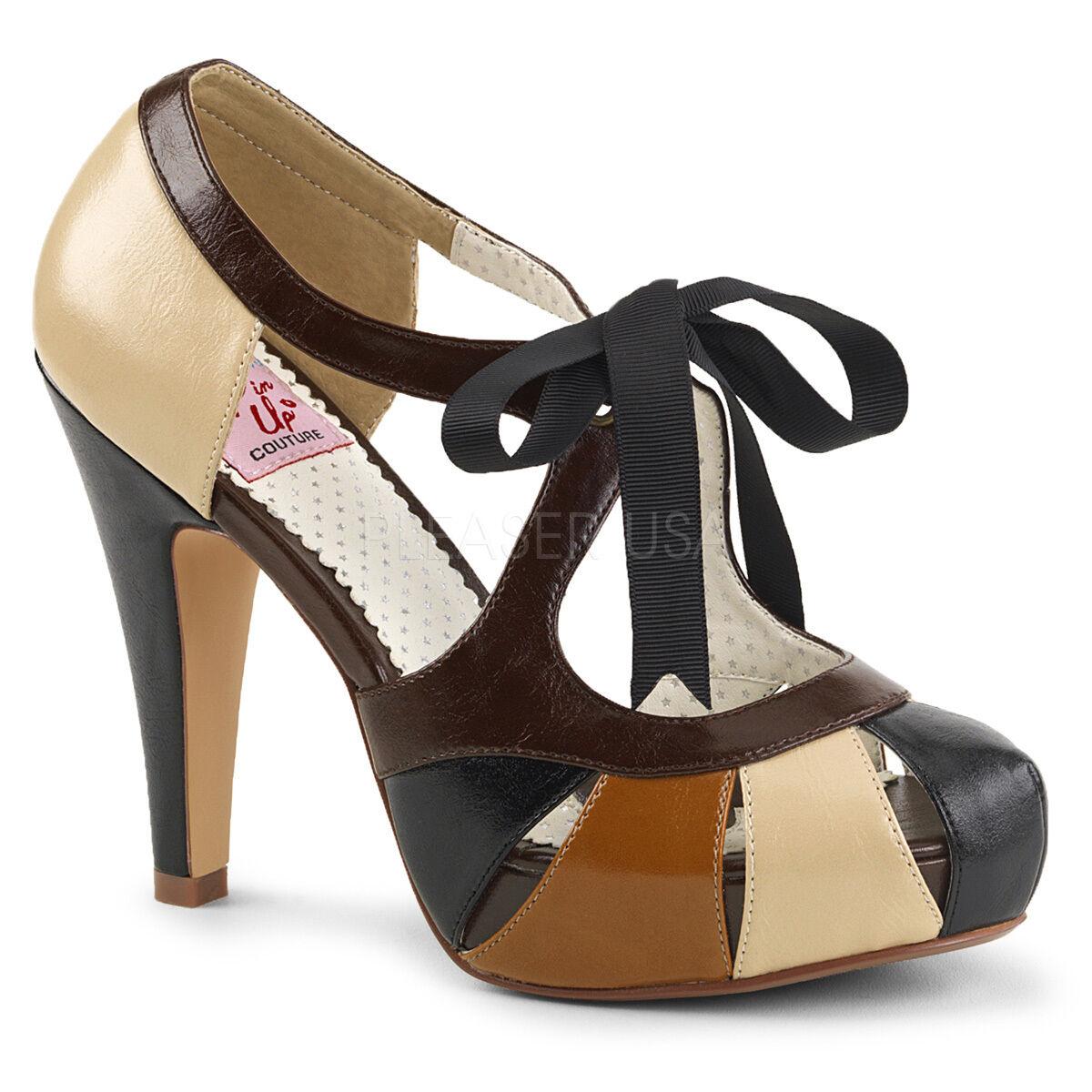PINUP BETT19/TMCPU Retro Platform Closed ToeTie Front Cutout Sandales Damens Schuhes