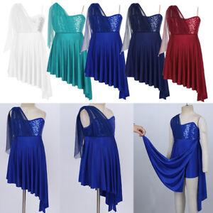 Girls-Lyrical-Dance-Dress-Sequins-Irregular-Hem-Dancewear-Contemporary-Costume