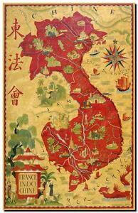Vintage old world map vietnam indochina canvas print poster a3 ebay image is loading vintage old world map vietnam indochina canvas print gumiabroncs Images