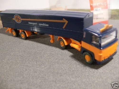 1//87 Wiking Scania 111 ASG Planen-Sattelzug 533 1 A