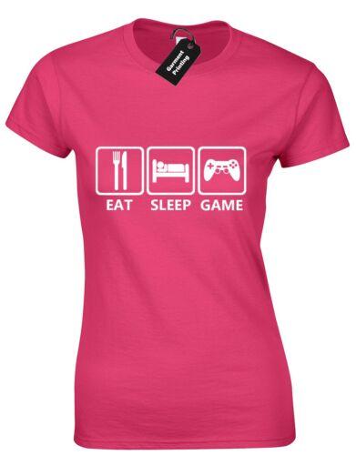 EAT SLEEP GAME LADIES T SHIRT  VIDEO GAMES CONSOLES SYMBOLS GAMER GEEK TOP S-XXL