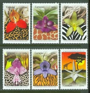 CURACAO-2014-ORCHIDS-SET-OF-SIX-MINT-NH
