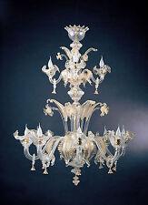 Lampadario di murano -667/8+4 Cristallo Oro - Montatura Oro 24k