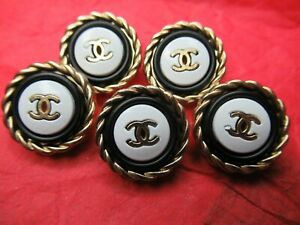 Chanel-5-buttons-18mm-lot-of-5-GOLD-cc-WHITE-black-lot-5