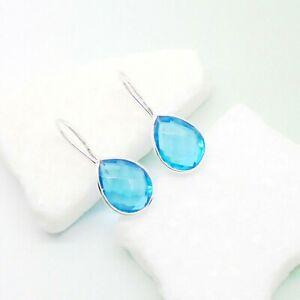 Blautopas-blau-blue-Tropfen-Design-Ohrringe-Haenger-Ohrhaenger-925-Sterling-Silber