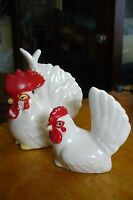 "Vintage Salt & Pepper Set ""WHITE ROOSTER & HEN "" OH SO CUTE"