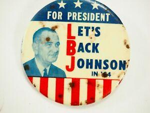 Para-Presidentes-Let-039-s-Espalda-Johnson-IN-039-64-Politico-Campaign-Pin-Back-Pin