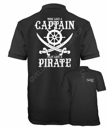 Velocitee Speed Shop Maglietta Polo Uomo Capitano Pirata Slogan TESCHIO Sailor W18945
