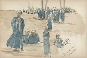 FIGURES-AT-BENI-HASAN-EGYPT-Antique-Watercolour-Painting-1891-MARY-E-CRAWHALL