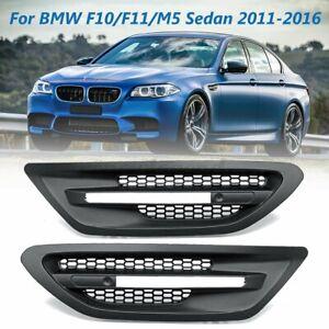 2x-Seiten-Fender-Grill-Griiter-Matt-Schwarz-Fuer-BMW-F10-F11-M5-Sedan-2011-2016