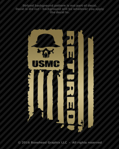4 Sizes Distressed USMC Marines Retired Flag Vinyl Decal Military Sticker