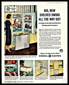1959 GE GENERAL ELECTRIC REFRIGERATOR Straight-Line Yellow
