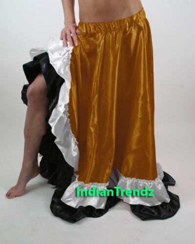 12 Yard Satin Skirt 2 Ruffle Flamenco Belly Dance Gypsy Tribal Costume Jupe Boho