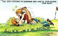 Vintage Signed comic Bamforth Risqué Postcard Golf Niblick club Suspender Belt