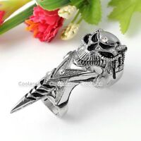 Silvery Gothic Smiling Skull Knuckle Armour Double Ring Cosplay Gothic Punk Rock