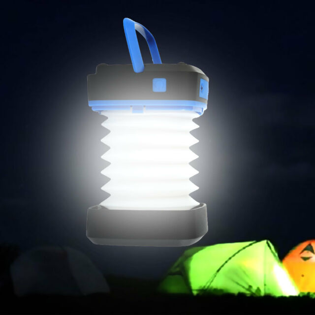 Solar Powered LED Camping Lantern Tent lights Collapsible Torch Fishing Lamp LL