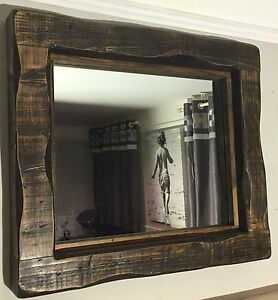 Details About Large Mirror Alcove Fireplace Rustic Reclaimed Timber Wood Storage Dark Oak