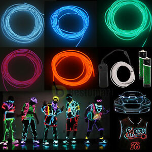 9ft Neon LED Light Glow EL Wire String Strip Rope Tube Car Party Controller