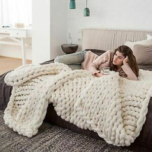 Knitted-Blanket-Winter-Yarn-Wool-like-Bulky-Soft-Warm-Sofa-Bed-Throw-On-Textiles