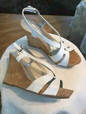 3e54bb55fb4 Guess Women s Leather Upper White Wedge Cork Heel Sandals Buckle Strap Size  11M